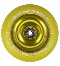 Rueda amarilla fluorescente de núcleo de metal 110 mm