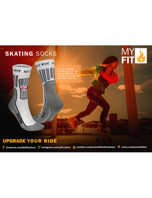 Ponožky Powerslide MY FIT Skating Socks White