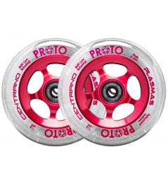 Ruedas Proto Plasma 110mm Transparente Sobre Rojo 2pcs