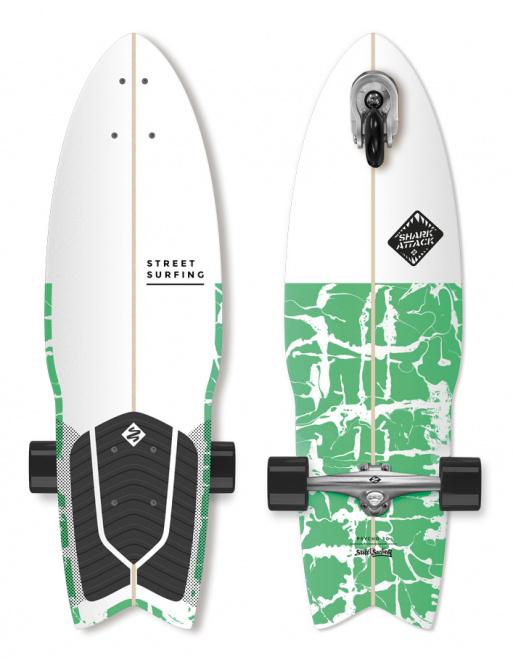 "Longboard Street Surfing SHARK ATTACK 30 ""Verde"